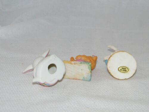 Small Easter Bear w// Flower Spring Decor Figurine of Choice Bunny w// Egg