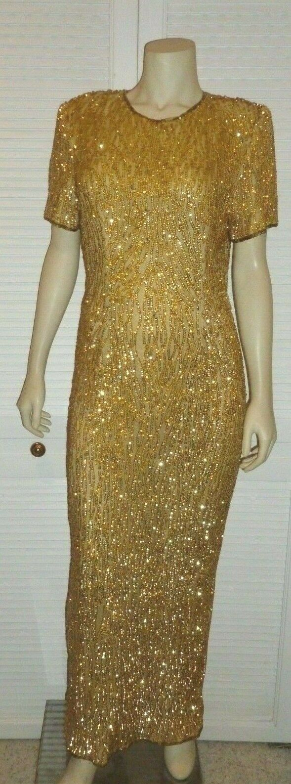 Designer STENAY DRESS GOWN GOWN GOWN Size 14 gold Sequins Beads Silk Shell Amazing Detail b653dc