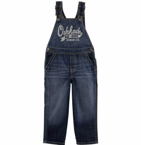 NWT OshKosh Toddler Boys 3T 4T Osh Kosh Denim Blue Jean Overalls Dark Wash