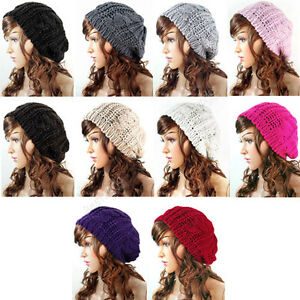 Womens-Ladies-Baggy-Beret-Chunky-Cotton-Knit-Knitted-Braided-Beanie-Hat-Ski-Cap