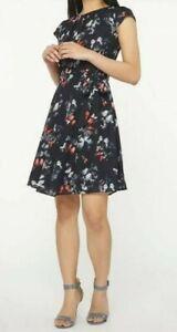GUC TOPSHOP women's black & white butterfly cap sleeve empire waist dress UK12
