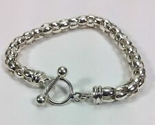 """Sterling Silver Italy Cage Chain Charm Toggle Bracelet-8"""""""