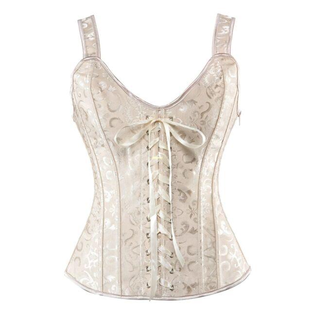 Martya Waist Cincher Boned Vintage Lace Up Boned Shapewear Overbust Corset Bustier Black//White