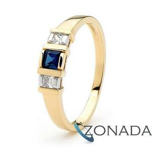 Sapphire-and-Simulated-Lucerne-9ct-9k-Solid-Yellow-Gold-Dress-Ring-Size-P-7-75