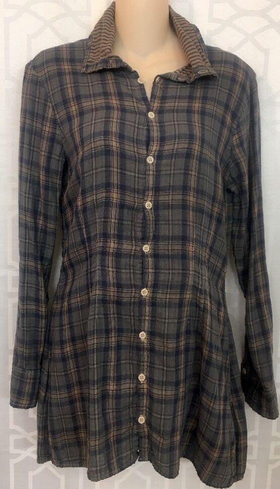 SHIRT PLAID Shirt Blau  And Beige Cotton Long Größe Xs NWT
