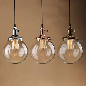 PATHSON VINTAGE INDUSTRIAL PENDANT LIGHT GLASS GLOBE SHADE CEILING ...