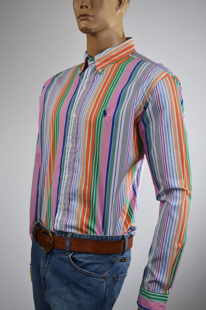 Ralph Lauren Classic Fit Multi-colord Stripe Long Sleeve Shirt bluee Pony-NWT