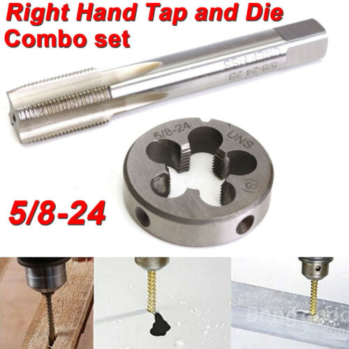 5//8-24 UNEF Hand Tap /& Round Die Set HSS Right Hand Tapping Hand Cutting Tool