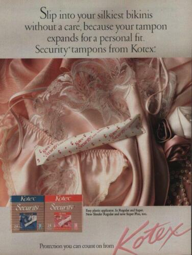 1989 Kotex Tampons Magazine Ad Page Camisole and Panties Your Silkiest Bikinis