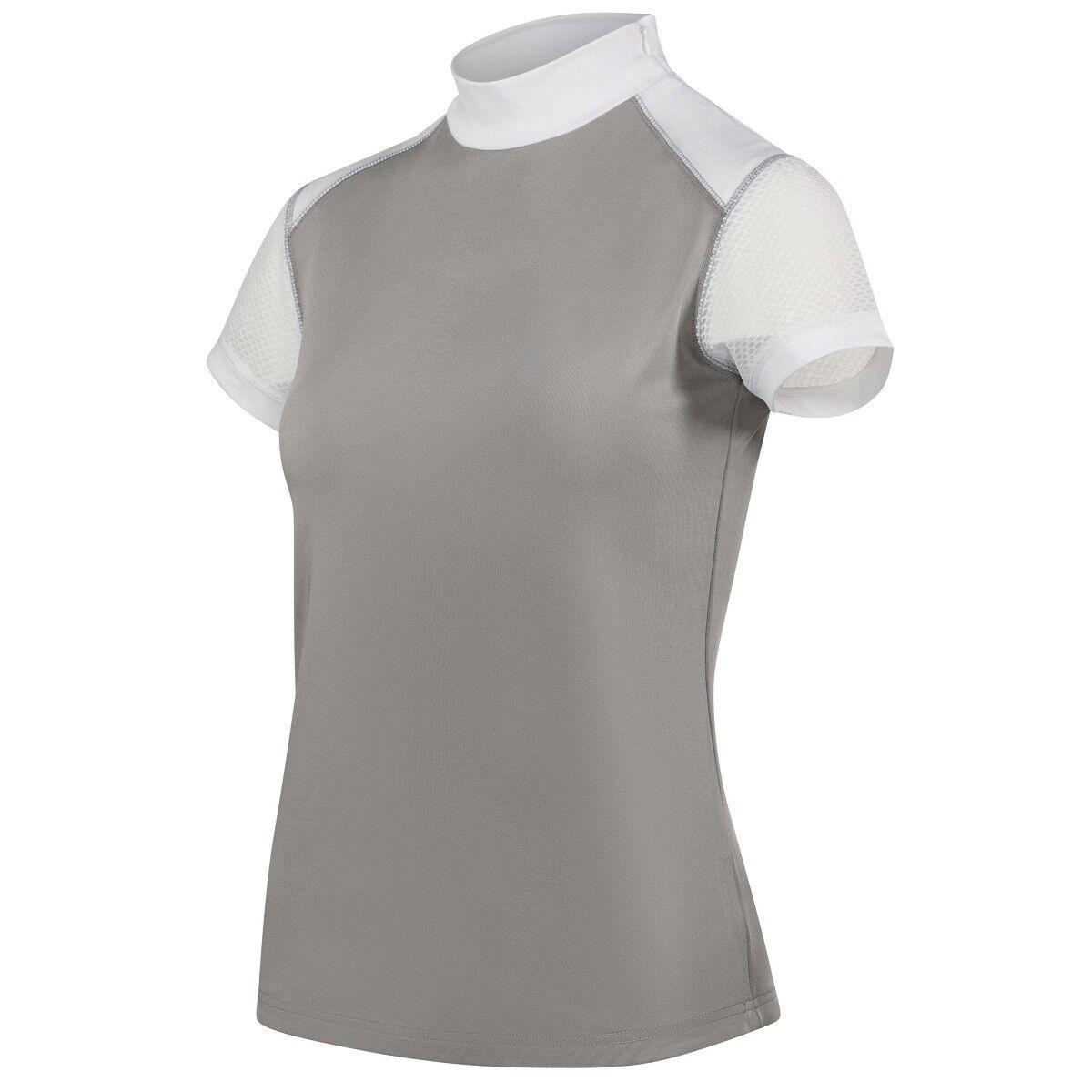 Bverdeigo gris, manga blancoa, cierre lateral, malla axila, camisa