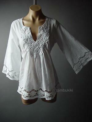 White Embroidered Crochet Bell Sleeve LARP Women Peasant Top 84 ac Blouse 2XL