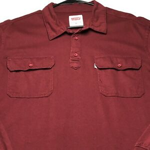 Levi-039-s-Men-Long-Sleeves-Collar-Shirt-Extra-Large-XL-Red-Two-Pocket-Casual-Cotton