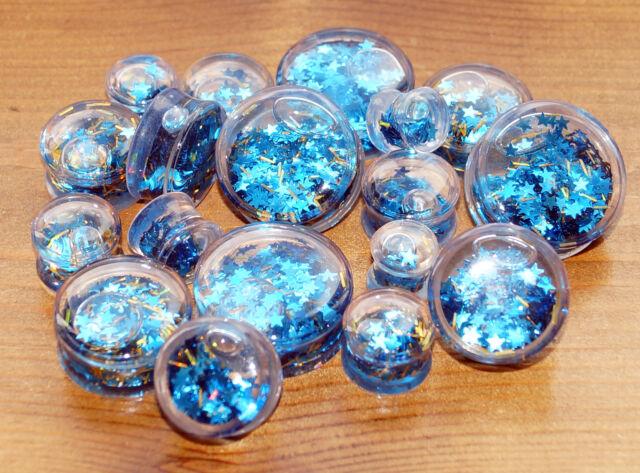 GLITTER FLESH PLUG LIQUID STARS SPARKLE EAR LOBE STRETCHER TUNNEL BLUE 10 - 26
