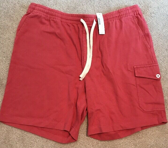J Crew Mens Cargo sweatshort in red Cotton G4224  L Large