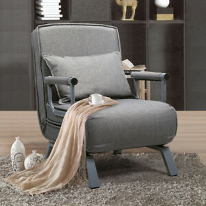 Details About Sofa Bed Folding Arm Chair Sleeper, 5 Position Recliner Full  Padded Convertible