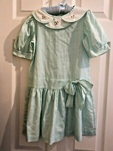 Vintage-Mint-Green-Dress-Size-7-P-on-Tag-Easter-Dress-Side-Bow-Cute-Party-Dress
