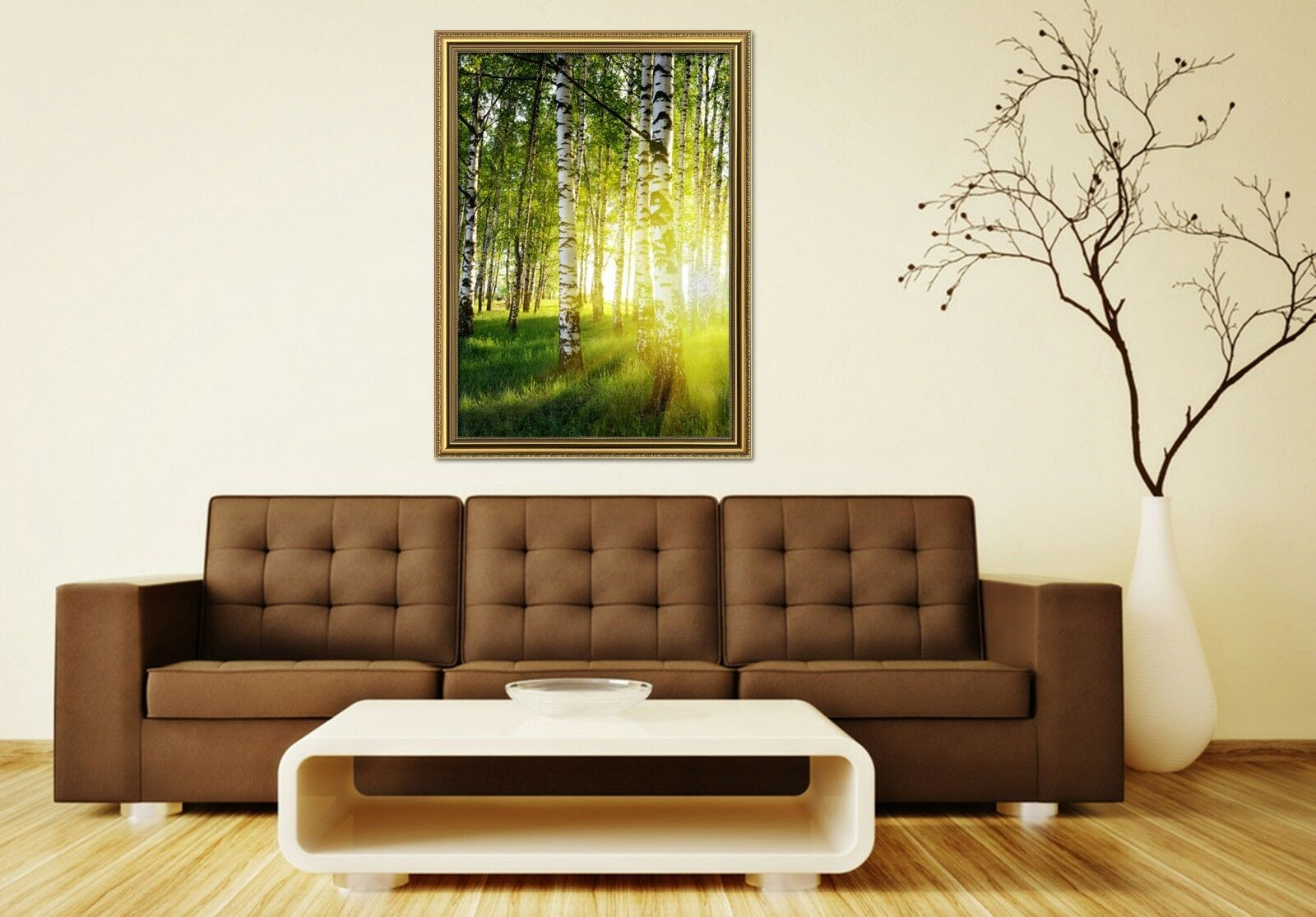 3D Weiß Birch Forest 3 Framed Poster Home Decor Drucken Painting Kunst AJ WandPapier