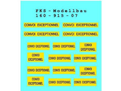 FKS 160-915-07 Warnschilder Convoi Exceptionnel NEU Spur N