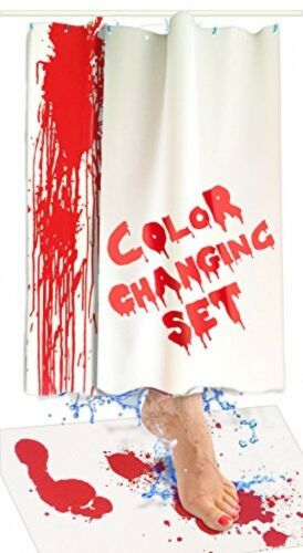 Shower Mat Color Changing Blood With Curtain Bleeds Red When Wet,Scary Halloween