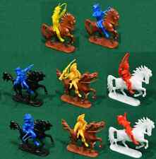 Jean Hoefler 8 Mounted Cowboys - 54mm plastic toy soldiers - COLORS VARY