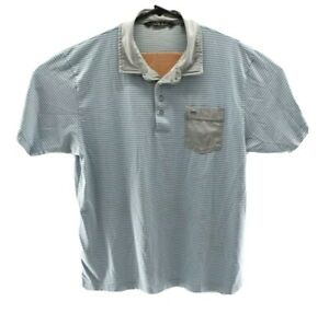 Travis-Mathew-Short-Sleeve-Polo-Golf-Shirt-Mens-Size-XL-Gray-Blue-Striped