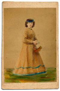 CDV Firenze Costumi Donna con cestino Foto originale albumina 1870c S1210