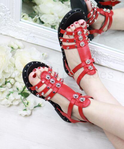 New Ladies Women Flat cloutées Sandals Bottines Strap Buckle Summer Beach Shoes Size