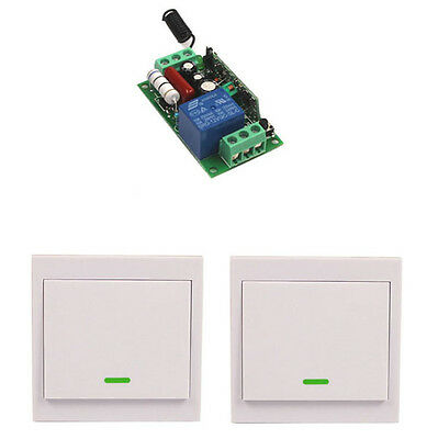 Home 220V 110V 10A Relay 1CH Wireless Wall Switch Transmitter Lamp Lights ON/OFF