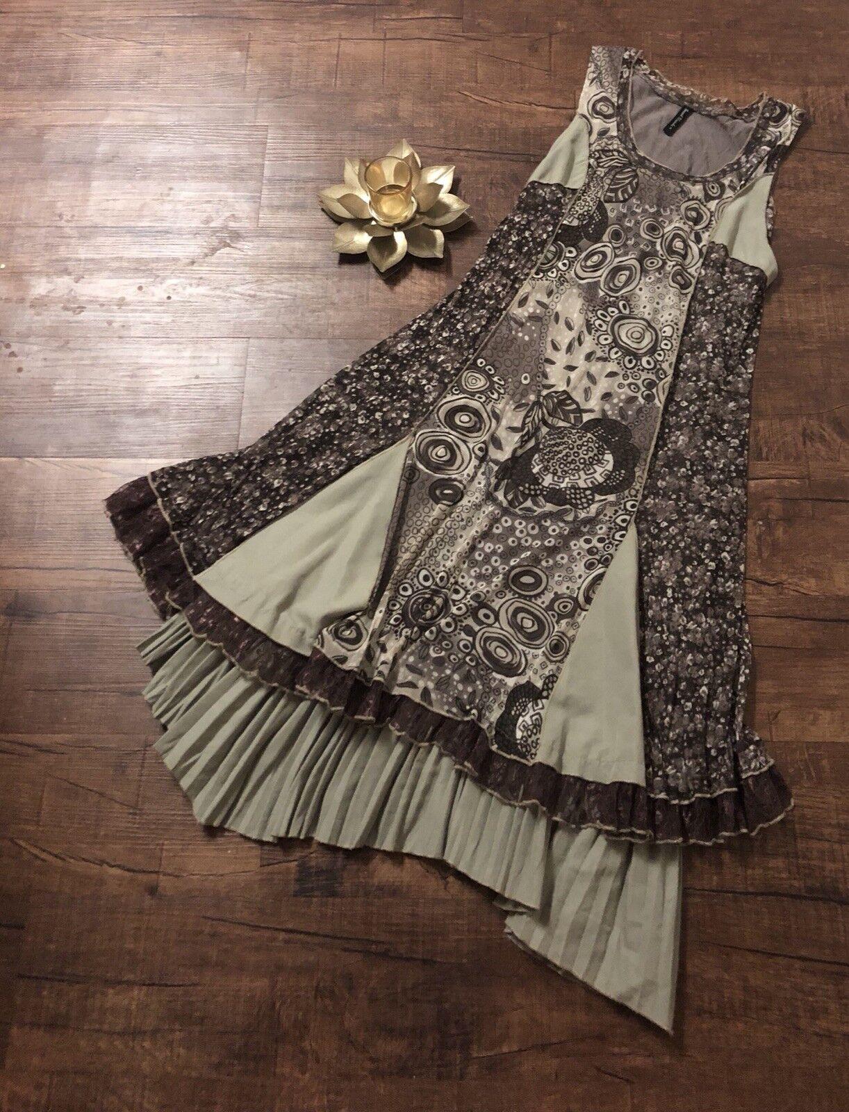 Small Womens SACRED THREADS Anthropologie Sleeveless Boho Dress Patchwork Pleats