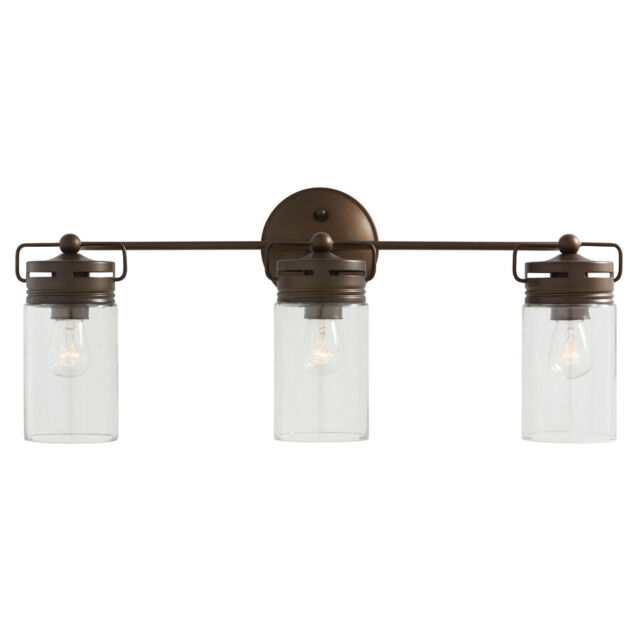 Light Fixture Aged Bronze Mason Jar