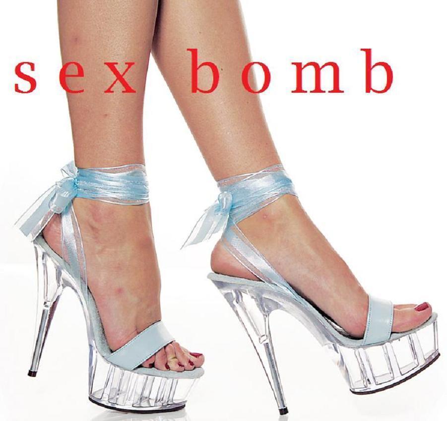 Sexy SANDALI PELLE tacco 15 n. 39 TRASPARENTE/AZZURRO plateau scarpe GLAMOUR !
