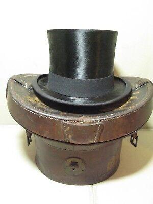 Costruttivo Antico Vintage In Pelle Top Hat Caso Ascot-mostra Il Titolo Originale Forte Resistenza Al Calore E All'Usura Dura