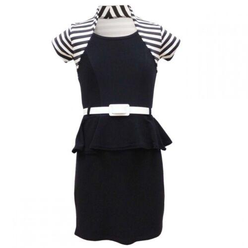 GIRLS RETRO ACTIVE BLACK /& WHITE SHRUG /& PEPLUM STYLE DRESS MATCHING BELT.2-3Y