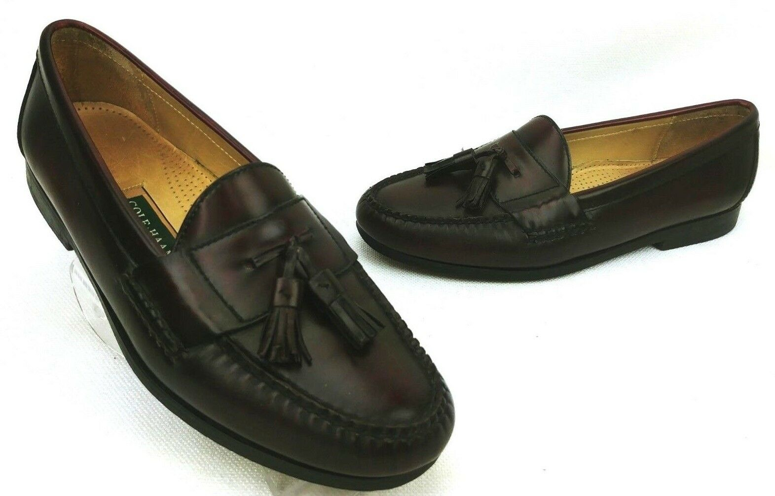 Cole Haan Mens Moc Toe Pinch Loafers Tassel Leather Burgundy schuhe 10 E