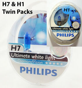 h7 h1 philips diamond vision 5000k twin pack headlight bulbs globe ebay. Black Bedroom Furniture Sets. Home Design Ideas