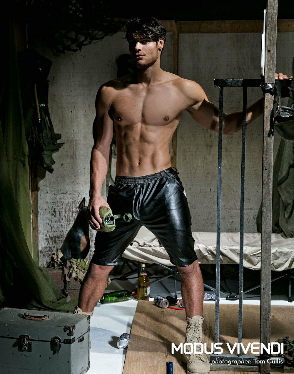 Modus Vivendi Military Bermuda Men's Leather Look Like Shorts