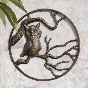 Owl Garden Wall Art Hanging Decor Metal Hoot Owl Bird Indoor Outdoor Plaque 2