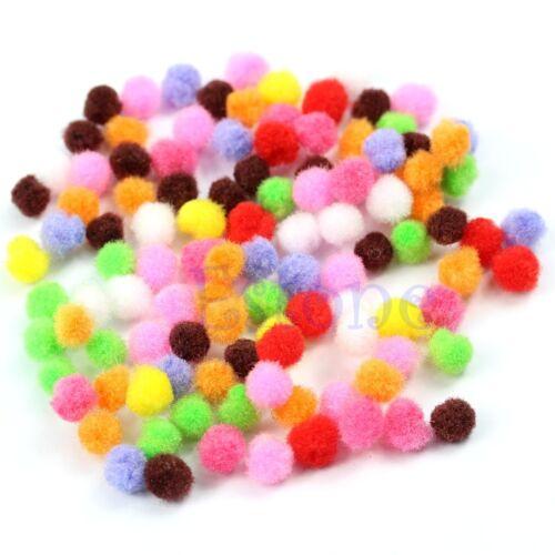 200PCS Pom Poms Soft Fluffy Balls Felt Card Embellishments Kids Pompoms