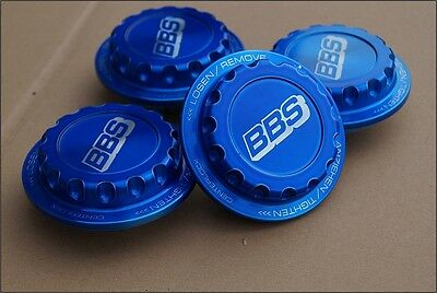 4x BBS RC RS BLUE Centerlock ! Hex Nuts Center Caps 15 16 17 18 Inch NEW !