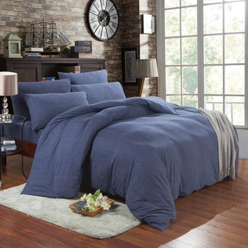 King Queen Jersey Cotton Duvet Cover Set Denim Blue Fitted Sheet Knit Beddings