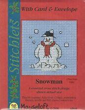 VAT Free Mouseloft Christmas Card Skating Snowman Counted Cross Stitch Kit New