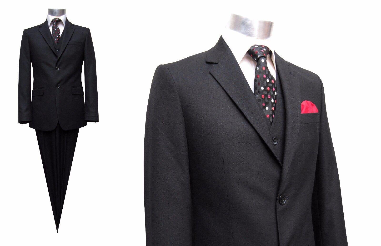 Herren Anzug mit Weste Gr.36 Schwarz