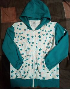 EUC ADIDAS women's colorful stars textured hoodie jacket in blue green sz Med