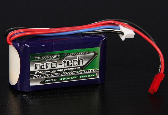 BATTERIA LIPO TURNIGY NANO-TECH 850 MAH 3S 25-40C LIPO 11.1 V t-rex 250