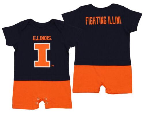 Navy OuterStuff NCAA Infant Illinois Illini Fan Jersey Romper