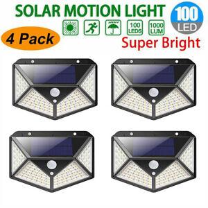 100-LED-Energia-Solar-Sensor-De-Movimiento-PIR-Luz-De-Pared-Lampara-De-Jardin-Lampara-Exterior