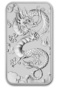 2018 $1 Silver Australian Dragon 24k Gold Gilded a 1oz .9999 pure Silver Bar