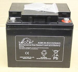 leoch powered mobility scooter battery agm 12v 50 ah e v 50 12 new ebay. Black Bedroom Furniture Sets. Home Design Ideas