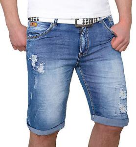 1ce7f220bf92 Herren Shorts Jeans Hose kurze Hose Bermuda Short Sommer Destroyed H ...