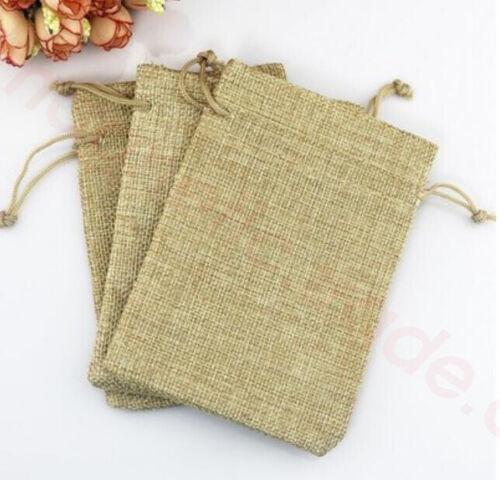 Lots Wedding Favor Gift Bags Natural Jute Hessian Drawstring Pouch Burlap